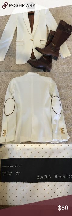♦️♦️SALE♦️♦️Zara Blazer with Elbow Patch NWOT XS Perfect for fall! Zara ivory blazer with brown trimmings and elbow patches (see pictures for details). Gold buttons, NEW without tags. Never been worn. Zara Jackets & Coats Blazers
