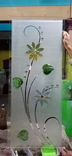 Glass Etching Designs, Glass Painting Designs, Paint Designs, Fancy Mirrors, Window Glass Design, Glass Wardrobe, Contemporary Metal Wall Art, Ganesha Tattoo, Etched Mirror