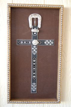 Black Western Belt Cross Frame Wall Hanging, Western Home Decor, Rustic Wall Decor, Rhinestone Crosses, Bling, Shadowboxes, Western Art