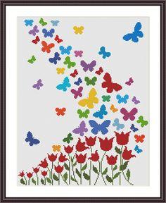 Butterfly Cross Stitch, Cross Stitch Heart, Simple Cross Stitch, Cross Stitch Animals, Cross Stitch Flowers, Modern Cross Stitch, Cross Stitch Designs, Cross Stitch Patterns, Loom Patterns