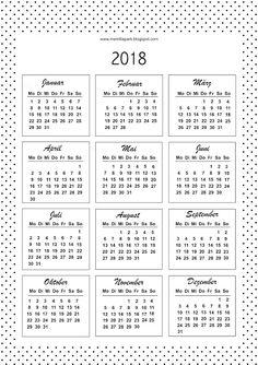 mini calendar template 2018