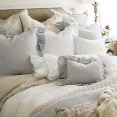 Pom Pom at Home uses delicate embroidery, crushed velvet and hand-crocheted lace to bring elegance and grace to your home.  • 100% Organic Linen • Ocean, Organic Flax, White, Cream, Grey Stone, Sea Foam, Silver... For more information visit on to http://www.thebellacottage.com/