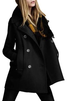 black double-breasted wool coat #fall #winter