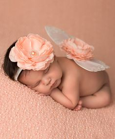 Love this White & Peach Headband & Wings by The Tiny Blessings Boutique on #zulily! #zulilyfinds