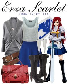 Casual cosplay Erza Scarlet from Fairy Tail with a sequin top and gray cardigan.