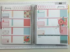Horizontal Planner Stickers | Floral WEEKLY SET | Turquoise and Coral | | H250A…