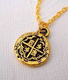 Piece of Eight Coin Pirate Charm Necklace with by lucindascharms, $10.00