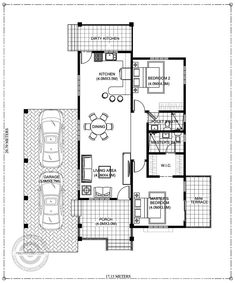 Idea for Kitchen Remodeling Floor Plan Best Of Modern Two Bedrooms and Bathrooms Bungalow House Plan Dirty House Floor Design, Modern Bungalow House Design, Bungalow Style House, Modern Small House Design, Bungalow House Plans, Three Bedroom House Plan, Bedroom Floor Plans, Small House Floor Plans, Barn House Plans