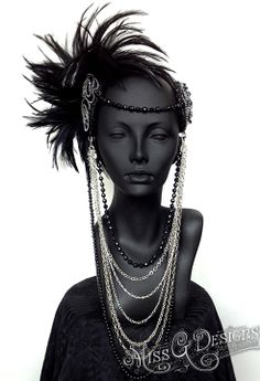 Feather Headdress with chains & pearls.....