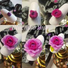 Art Rose, Rose Nail Art, Rose Nails, 3d Nail Art, 3d Nails, Flower Nails, Bling Nails, 3d Nail Designs, Acrylic Nail Designs