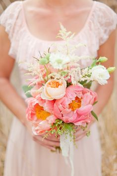 peach and coral bouquet Peonies Bouquet, Pink Bouquet, Flower Bouquets, Coral Peonies, Whimsical Wedding, Wedding Colors, Trendy Wedding, Rustic Wedding, Wedding Bouquets