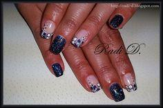 Black glitter gel polish with flowers
