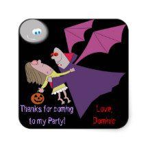 Funny Vampire Halloween Birthday Party Stickers
