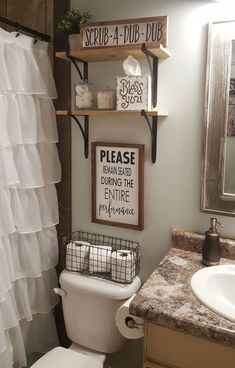 Farmhouse bathroom decorating ideas - cheap farmhouse decor ideas for decorating. IKEA Is Totally Changing Their Kitchen Cabinet System. Please Remain Seated During Entire Performance Wood Signs Rustic Bathroom Decor, Bathroom Theme Ideas, College Bathroom Decor, Girl Bathroom Decor, Girl Bathrooms, Teenage Bathroom Ideas, Rustic Bathrooms, Bathroom Designs, Modern Bathrooms