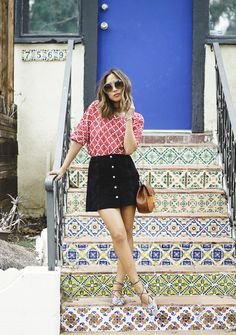 aimee_song_of_style madewell printed top, topshop button down suede skirt, topshop pointed lace up flats August Outfits, Fall Outfits, Summer Outfits, Song Of Style, Lace Up Ballet Flats, Lace Shoes, Black Denim Skirt, Button Front Skirt, One Step