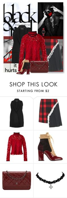 """Black and Red - It hurts"" by no-where-girl ❤ liked on Polyvore featuring River Island, Sebastian Professional, Maison Margiela, Salvatore Ferragamo, Laurence Dacade, Chanel, Abbott Lyon and thebestpolyvorians"