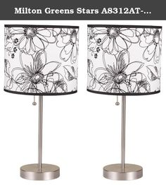 "Milton Greens Stars A8312AT-S Ruslana Contemporary Table Lamp with Flower Print, 18.5-Inch, Set of 2. The Ruslana Contemporary 18.5"" Table Lamp Set by Milton Greens Stars is as simplistic as it is artistic. No longer will your lighting options be categorized as plain, or boring. Set your artistic flair loose with startling lamp shade designs created for those who live life outside the lines of convention and seek thrills beyond the everyday. Introduce another element of enchantment to…"
