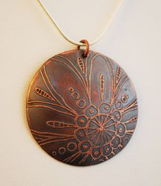 Domed Etched Copper Flower Pendant by campbellcreation on Etsy, $28.00
