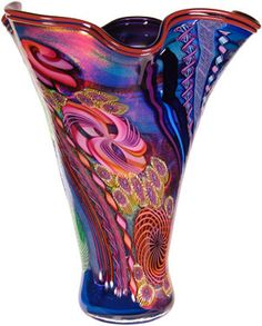 James Nowak: Vases   Artist info Coral Reefs       Fluted Aquarium Vase with Multicolor cane, murrinis and dichroic glass