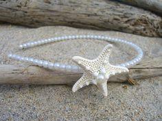 Starfish White Pearl Headband-Beach Weddings, Starfish Themes, Mermaids…