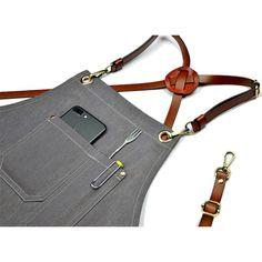 Image of Gray Denim Work Wear Apron with Leather Strap - TrendyGiftIdea Barber Apron, Bib Apron, Aprons, Leather Apron, Denim Ideas, Raw Denim, Fashion Sewing, Hermes Kelly, Work Wear