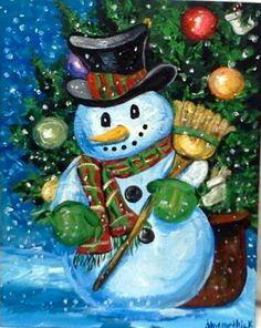 Snowman Christmas snowman painting acrylic art by . Christmas Rock, Christmas Canvas, Whimsical Christmas, Christmas Paintings, Christmas Snowman, Christmas Time, Vintage Christmas, Christmas Crafts, Christmas Banners