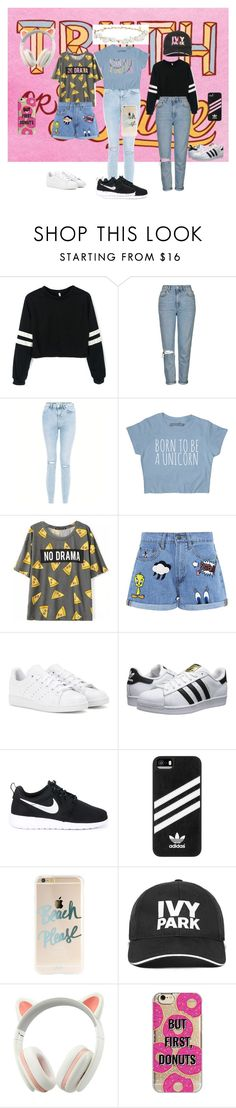 """How to rock the denim"" by linavasileiadou on Polyvore featuring Topshop, New Look, Paul & Joe Sister, adidas, adidas Originals, NIKE, Ivy Park, Agent 18 and Robert Rose"