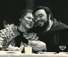 """Mirella Freni and Luciano  Pavarotti as Mimi and Rodolfo in Puccini's most popular opera, """"La Boheme"""""""