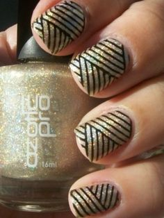 Perfect Champagne Glitter and Black Kitty Corner Stripes (Gotta figure out how to do this on my own!)