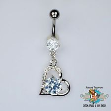 Sexy Belly Rings | ... Out Bling Heart Dangle Belly Ring Sexy CZ Heart Navel Ring 14G (A10