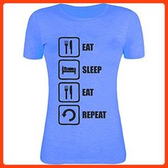 Eat Sleep Eat Repeat Black Graphic Womens T-Shirt XX-Large (*Partner Link)