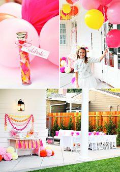 vibrant geometric birthday, balloons and centerpieces