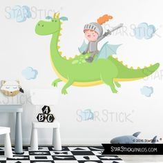 el dragon magico y el caballero - vinilo infantil Childrens Wall Decals, Kids Wall Murals, Murals For Kids, Baby Boy Rooms, Baby Room, Kit Bebe, School Painting, Baby Dragon, Room Themes