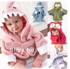 Retail boy girl Animal Baby bathrobe/baby hooded bath towel/kids bath terry children infant bathing/baby robe HoneyBaby-in Towels from Home ...