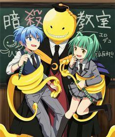 Korosensei, Nagisa, Kaede, text, knives, weapons, funny; Assassination Classroom