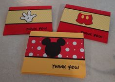 Mickey Mouse Thank You Cards  Birthday Supplies by Scrappin2gether, $20.00