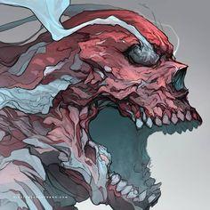 Skull of the day Art Sketches, Art Drawings, Arte Obscura, Bild Tattoos, Monster Art, Dope Art, Dark Fantasy Art, Horror Art, Skull Art