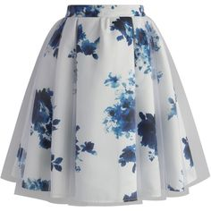 Chicwish White Floral Mist Tulle Skirt (305 DKK) ❤ liked on Polyvore featuring skirts, bottoms, saias, white, floral skirt, white floral skirt, white skirt, white knee length skirt and lined skirt