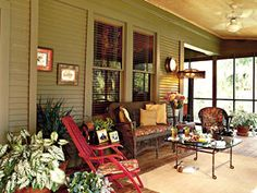 The porch is the hub of life at this house on Lake Bistineau, near Shreveport. The mix of antiques and junk-store finds creates a comfortable atmosphere