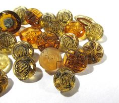VINTAGE Yellow Glass Buttons Diminutive Buttons 31 by punksrus