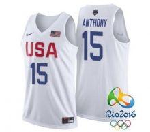 adc19bf5d  15 Men s Carmelo Anthony New Nike White 2016 Olympics Team USA Basketball Rio  Elite Replica