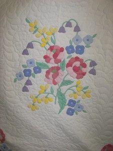 Antique Vintage Floral Bouquet Applique Completed Kit Quilt Crisp Fresh | eBay