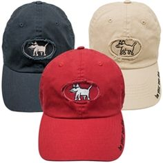 I HAT to have it...a new stylin' cap for the sunny dog days ahead.  Features Teddy on a frayed applique patch and 'be your own dog' on the cap's rim. 100% cotton. Choose navy, red or khaki.