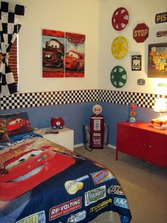 I love the idea of repurposing the old furniture & painting it red to match the theme. I wonder if there are checkerboard decals that would work for the border but be removed when our little one outgrows this theme.