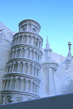 """Torre di Pisa"" snow sculpture at Sapporo Snow Festival, Japan: photo by Akihisa Kitanosono"