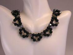 Beadwork Necklace, Choker Necklace, Black Necklace, Formal Necklace, Glass Bead Necklace, Dressy Necklace, Bead Necklace Formal