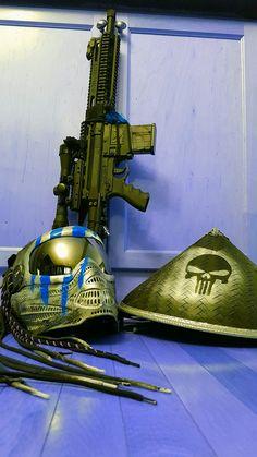 Predator Paintball mask, custom Milsig CQC and hat. @ChefBoyYARDe