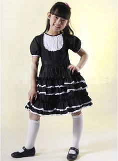 Black Short Sleeves Ruffle Kids Lolita Dress on www.ueelly.com
