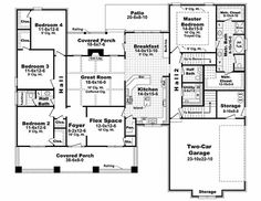 Craftsman Style House Plan - 4 Beds 2.5 Baths 2447 Sq/Ft Plan #21-308 Floor Plan - Main Floor Plan - Houseplans.com