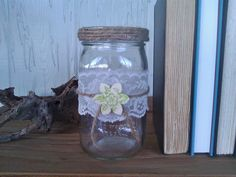 Lovely Lace Rustic Mason Jar ~Christle's Creations~